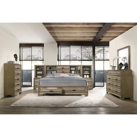 Loiret Rubbed Gray Oak Finish Wood Storage Platform WallBed with Dresser, Mirror, Chest