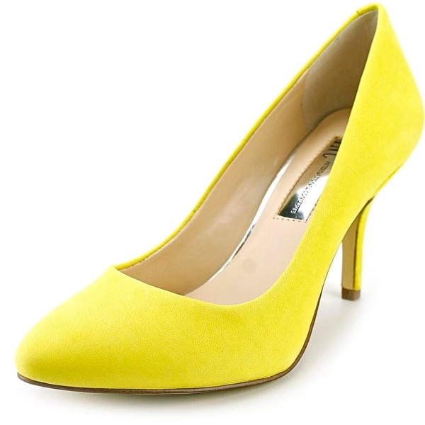 INC International Concepts Zitah3 Women Pointed Toe Leather Yellow Heels