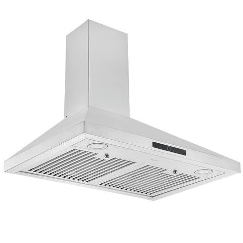 Ancona 30 in. Convertible Wall Mount Pyramid Range Hood in Stainless Steel
