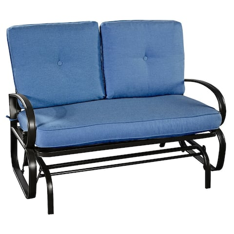 Outdoor Patio Cushioned Rocking Bench Loveseat - Blue