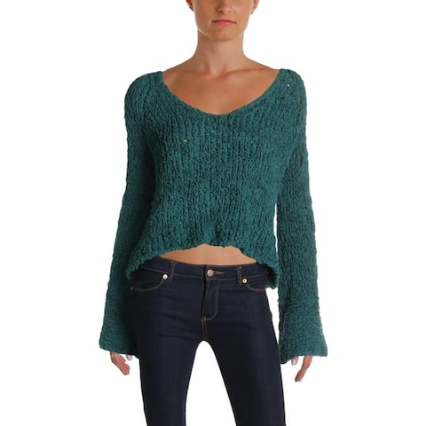 Free People Womens Sweater Cropped Bell Sleeves