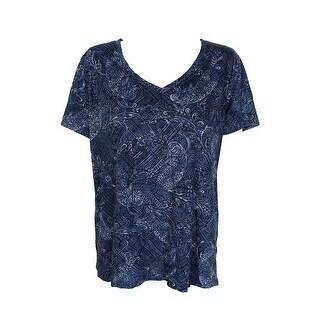 Style & Co Plus Size Blue Printed Short Sleeve V-Neck T-Shirt 0C
