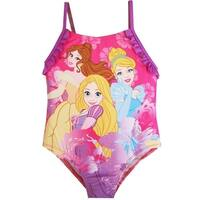 Disney Little Girls Pink Purple Princesses Print One Piece Swimsuit