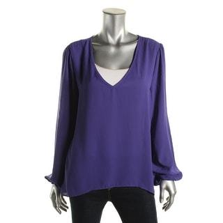 Aqua Womens Pullover Top Hi-Low Bishop Sleeves