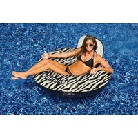 "40"" Water Sports Wildthings Inflatable Zebra Print Swimming Pool Float - White"