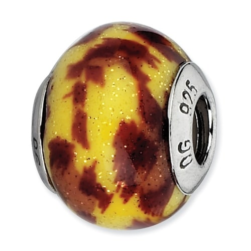 Italian Sterling Silver Reflections Yellow & Brown Glitter Overlay Glass Bead