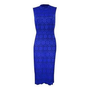 Vince Camuto Women's Lace Mock-Neck Sheath Dress - ROYAL