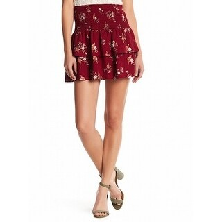 Socialite NEW Red Womens Size Large L Smocked Tiered Floral Mini Skirt