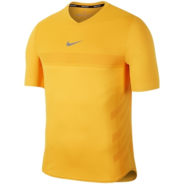 54dda565 Nike Yellow Mens 2XL V Neck Court Rafa AeroReact Tennis T-Shirt