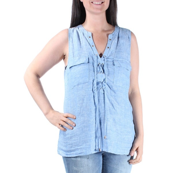 f4333681d18d34 Shop INC Womens Light Blue Sleeveless V Neck Top Size: 8 - On Sale - Free  Shipping On Orders Over $45 - Overstock - 23454604