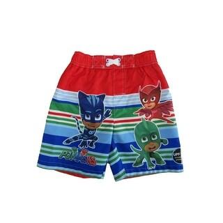 "Disney Little Boys Multi Color Stripe ""PJ Masks"" Print Swimwear Shorts"