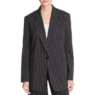 DKNY NEW Black White Women's Size Small S Striped Notch-Collar Jacket