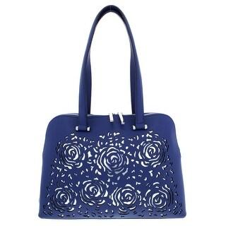 Christian Siriano Womens Janelle Dome Handbag Faux Leather Laser Cut - Medium