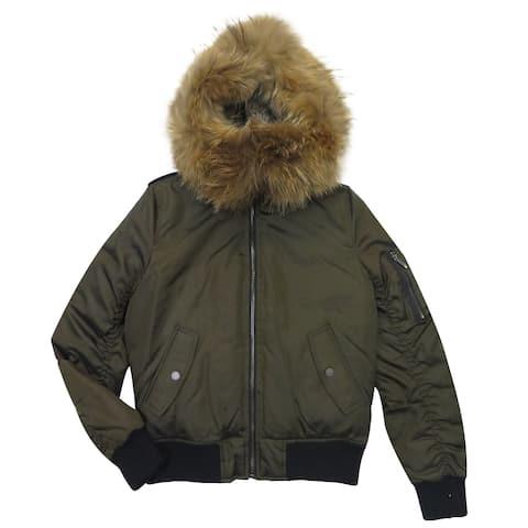 BCBG Max Azria Women's Blaze Olive Fur Hooded Puffer Coat (XXS)