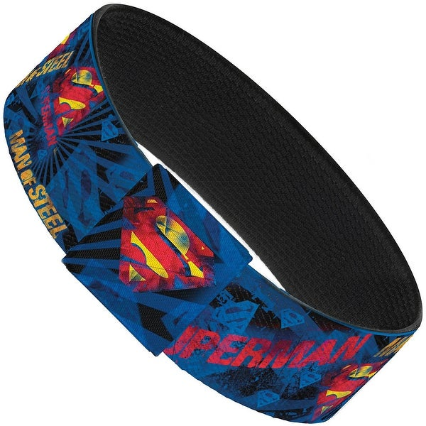 Superman Man Of Steel Shield Collage Rays Black Blues Reds Yellows Elastic Elastic Bracelet