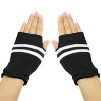 Unique Bargains Woman Black White Striped Stretchy Acrylic Knitted Thumb Hole Detail Gloves