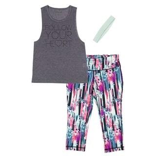 Material Girl Juniors' T-Shirt, Printed Leggings and Headband Set - heather charc - S