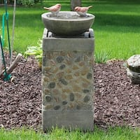 Sunnydaze Birdbath Basin on Pedestal Outdoor Garden Water Fountain 29 Inch Tall