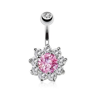 Flower Multi CZ Prong Set Navel Belly Button Ring 316L Surgical Steel