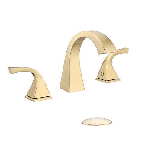 Commercial Solid Brass Lavatory 3 Holes Widespread 2 Handle Bathroom Faucet with Pop Up drain Assembly