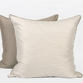 G Home Collection Luxury White And Taupe Two Color Faux Silk Pillow 20