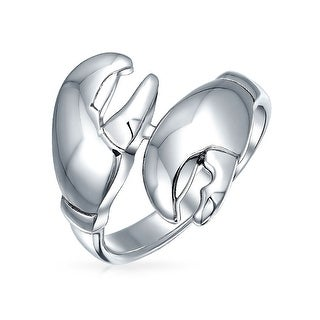 Nautical Fishermen Bypass Crab Lobster Claws Band Ring For Women For Men 925 Sterling Silver