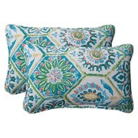 """Set of 2 Psychedelic Blue Outdoor Patio Corded Throw Pillows 18.5"""""""