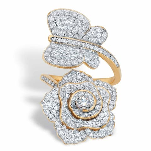 Gold Plated Round Cubic Zirconia Rose and Butterfly Cocktail Wrap Ring