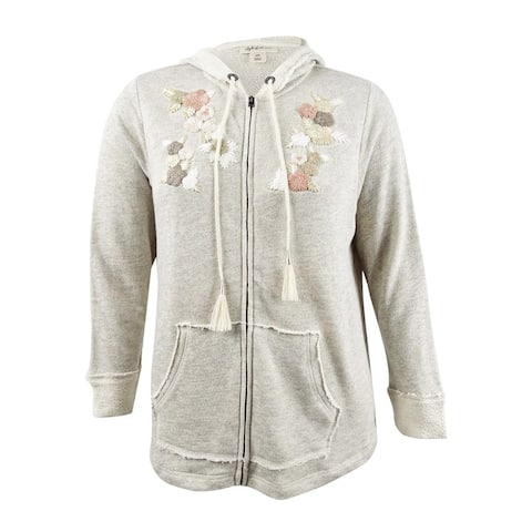 Style & Co. Women's Plus Size Embroidered Zip Hoodie - Light Grey Heather