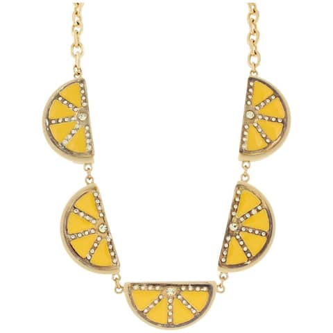 Marc by Marc Jacobs Womens Collar Necklace Rhinestone Fruits Slice - Lemon Yellow - O/S