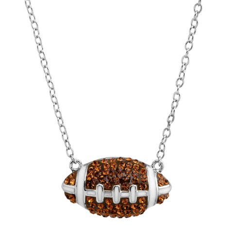 Crystaluxe Football Pendant with Crystals in Sterling Silver - Brown