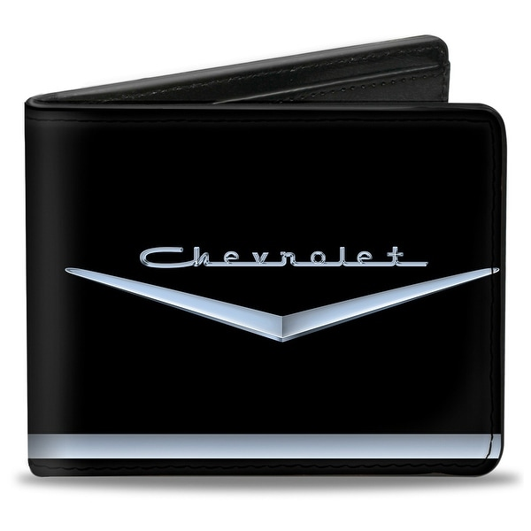 1955 57 Chevrolet V Emblem Stripe Black Silver Bi Fold Wallet - One Size Fits most