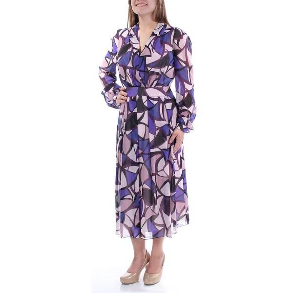 0d4d9d2a01ae5 Womens Purple Long Sleeve Below The Knee Pleated Wear To Work Dress Size: 10