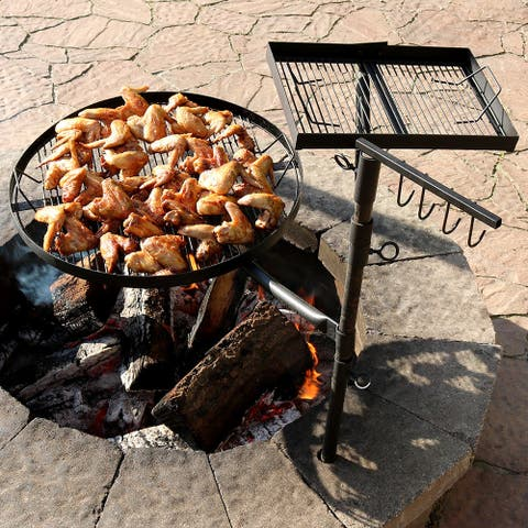 Sunnydaze Black Steel Heavy-Duty Dual Fire Pit Campfire Cooking Grill System - Black Black
