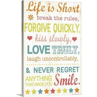 """Life Is Short"" Canvas Wall Art"