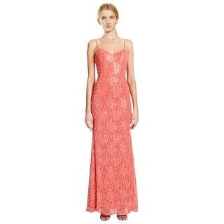 La Femme Beaded Floral Lace Body-Defining Sheath Evening Gown Dress - 2