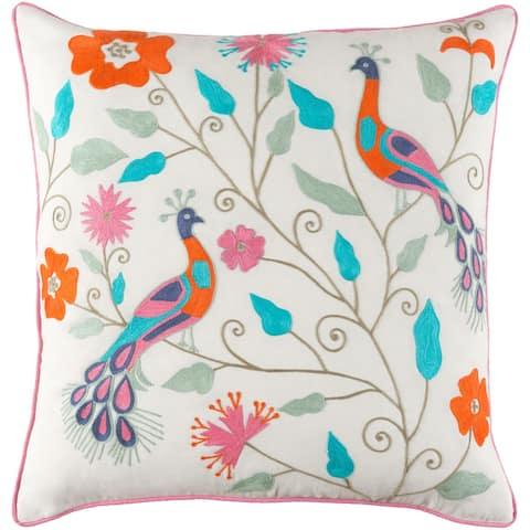 Decorative Villejuif Blue Throw Pillow Cover (20 x 20)
