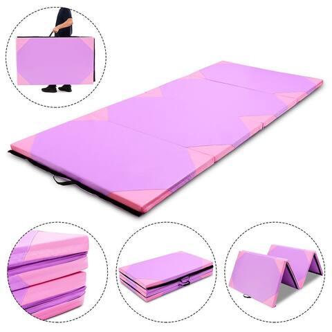 Gymax 4'x10'x2'' Gymnastics Mat Thick Folding Panel Gym Fitness Exercise Purple & Pink