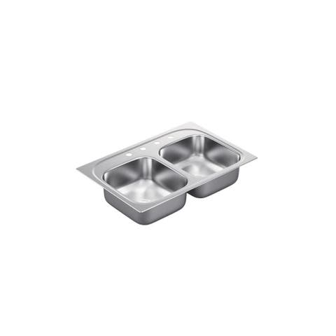 """Moen G182154Q 1800 Series 33"""" Double Basin Stainless Steel Kitchen Sink for Drop In Installation with Quickmount Hardware"""