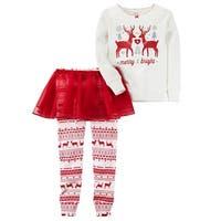 Carter's Little Girls' 3-Piece Reindeer PJ Set, 2-Toddler - Red