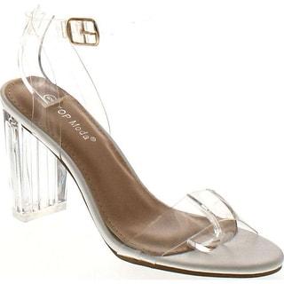 Top Moda Women's Alma-70 Lucite Clear Strappy Block Chunky High Heel Open Peep Toe Sandal