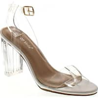 Top Moda Women's Alma-70 Lucite Clear Strappy Block Chunky High Heel Open Peep Toe Sandal