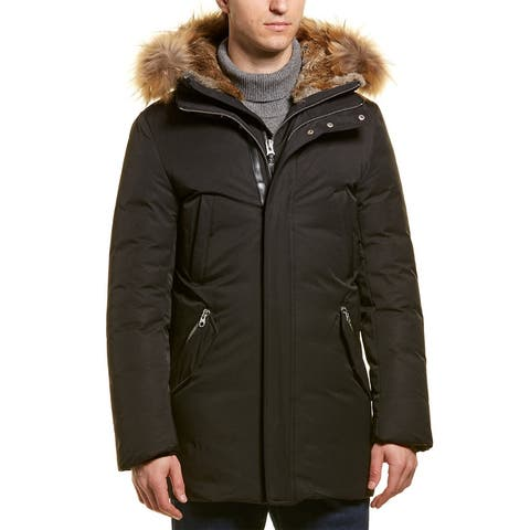 Mackage Edward Luxe Down Leather-Trim Coat