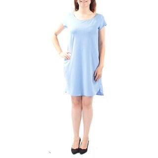 EILEEN FISHER $138 Womens New 1443 Blue Short Sleeve Shirt Dress Dress S B+B