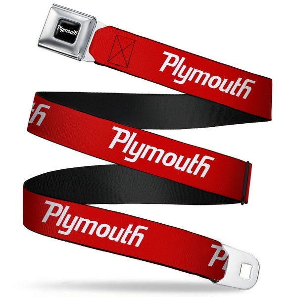 Plymouth Text Logo Full Color Black White Plymouth Text Logo Red White Seatbelt Belt