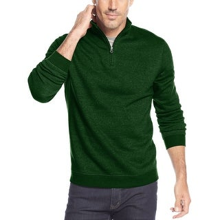 John Ashford Quarter Zip Fleece Mock Neck Sweatshirt Green Glisten Small