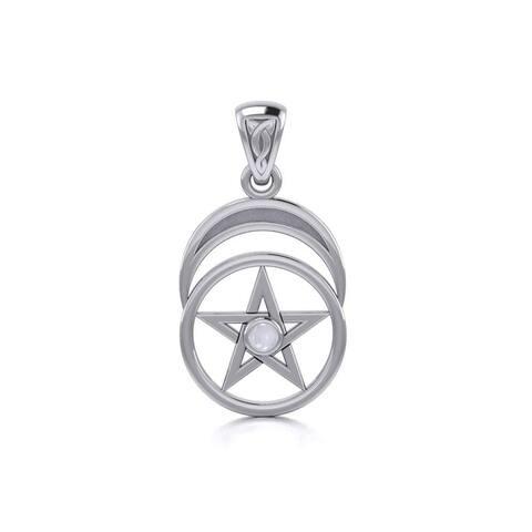 "Sterling Silver Pentacle Crescent Moon Goddess Pendant Necklace 18"" Moonstone"