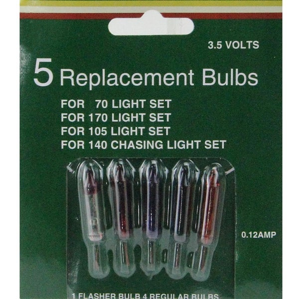 Pack of 5 Multi-Color Mini Christmas Replacement Bulbs - 3.5 Volts