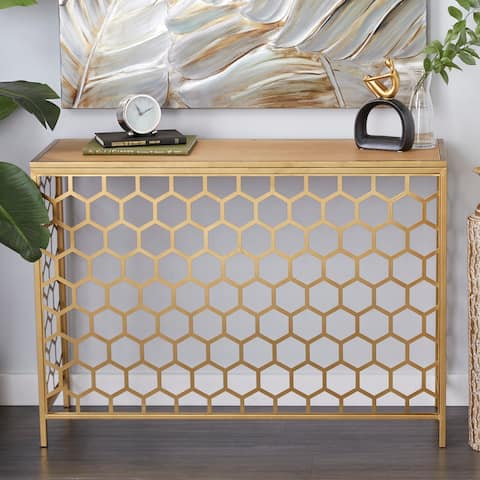Gold Iron Contemporary Console Table 30 x 42 x 14 - 42 x 14 x 30