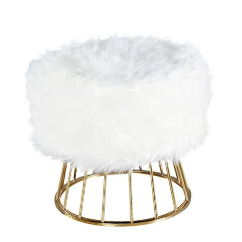 Faux Fur Upholstered Ottoman with Open Metal Frame, White and Gold